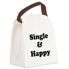 Single and Happy Canvas Lunch Bag