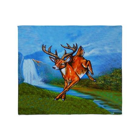 Waterfall Deer Throw Blanket