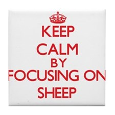 Keep calm by focusing on Sheep Tile Coaster