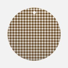 Brown Gingham Ornament (Round)