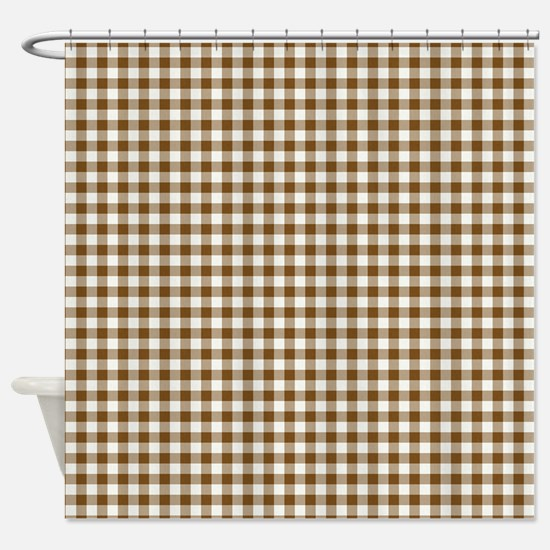 Brown Gingham Shower Curtain