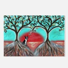 Boston Terrier Tree of Life Hearts 2 Postcards (Pa