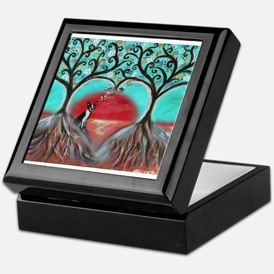Boston Terrier Tree of Life Hearts 2 Keepsake Box