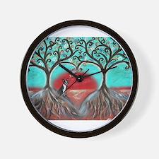 Boston Terrier Tree of Life Hearts 2 Wall Clock