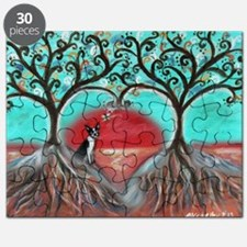 Boston Terrier Tree of Life Hearts 2 Puzzle