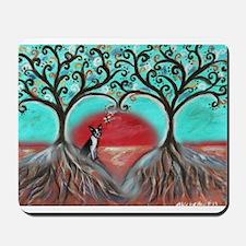 Boston Terrier Tree of Life Hearts 2 Mousepad