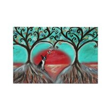 Boston Terrier Tree of Life Hearts 2 Magnets