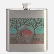 Boston Terrier Tree of Life Hearts 2 Flask