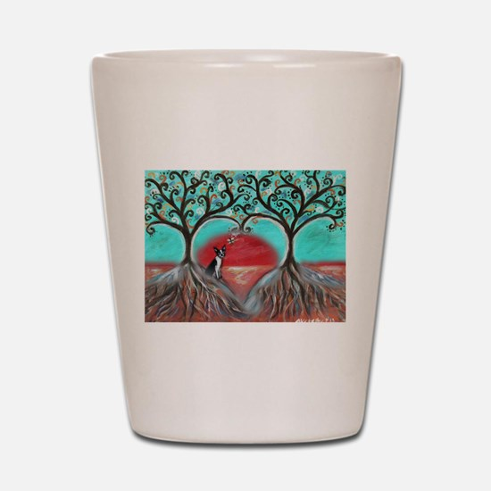 Boston Terrier Tree of Life Hearts 2 Shot Glass