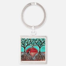 Boston Terrier Tree of Life Hearts 2 Keychains