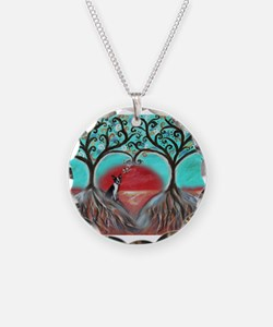 Boston Terrier Tree of Life Hearts 2 Necklace