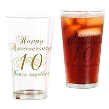 10th Anniversary (Gold Script) Drinking Glass
