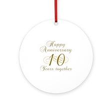 10th Anniversary (Gold Script) Ornament (Round)
