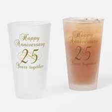 25th Anniversary (Gold Script) Drinking Glass