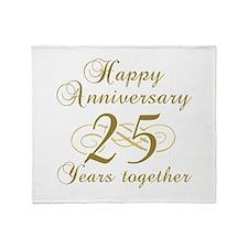25th Anniversary (Gold Script) Throw Blanket