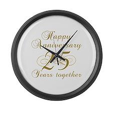 25th Anniversary (Gold Script) Large Wall Clock