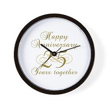 25th Anniversary (Gold Script) Wall Clock
