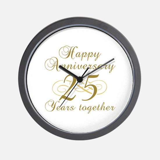 25th Anniversary (Gold Script) Wall Clock