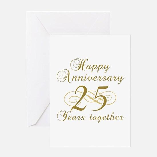25th Anniversary (Gold Script) Greeting Card