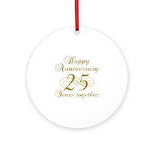 25th Anniversary (Gold Script) Ornament (Round)