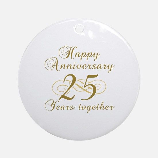 25th Anniversary (Gold Script) Ornament (Round)