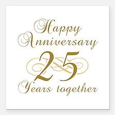 25th Anniversary (Gold Script) Square Car Magnet 3