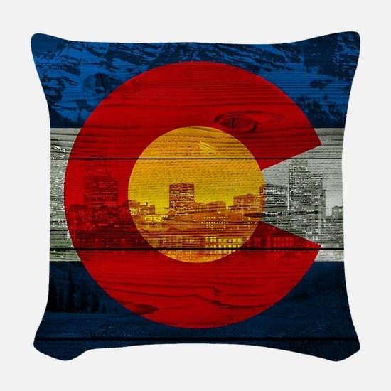 Colorado Flag Woven Throw Pillow