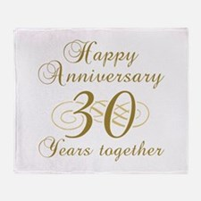 30th Anniversary (Gold Script) Throw Blanket
