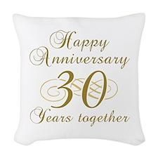 30th Anniversary (Gold Script) Woven Throw Pillow
