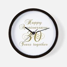 30th Anniversary (Gold Script) Wall Clock