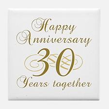 30th Anniversary (Gold Script) Tile Coaster