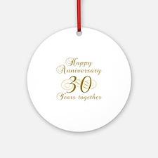30th Anniversary (Gold Script) Ornament (Round)