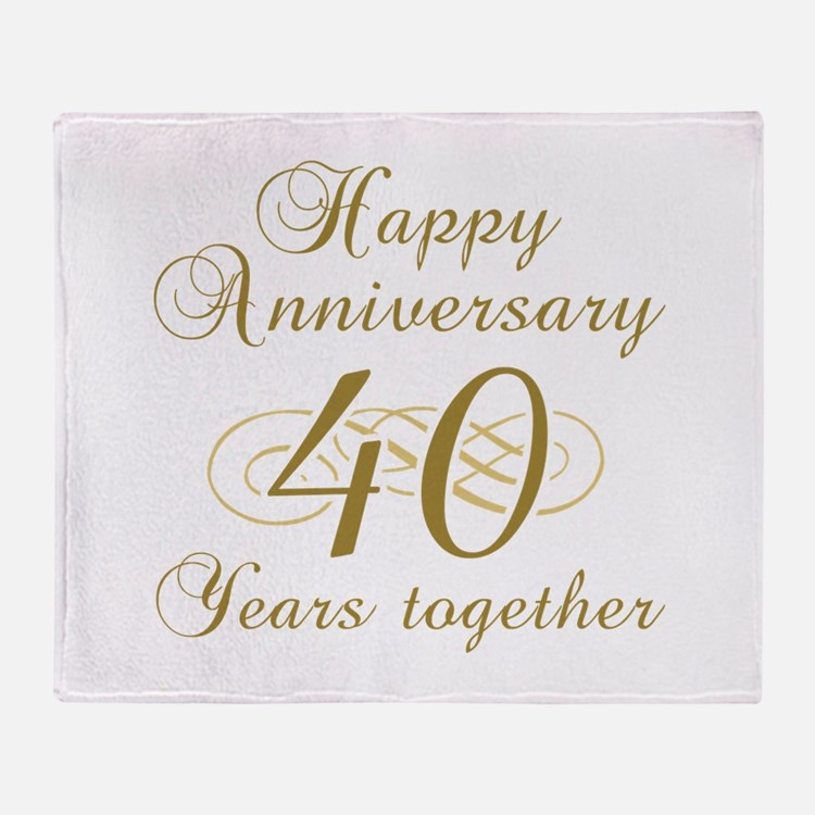 40th Anniversary (Gold Script) Throw Blanket