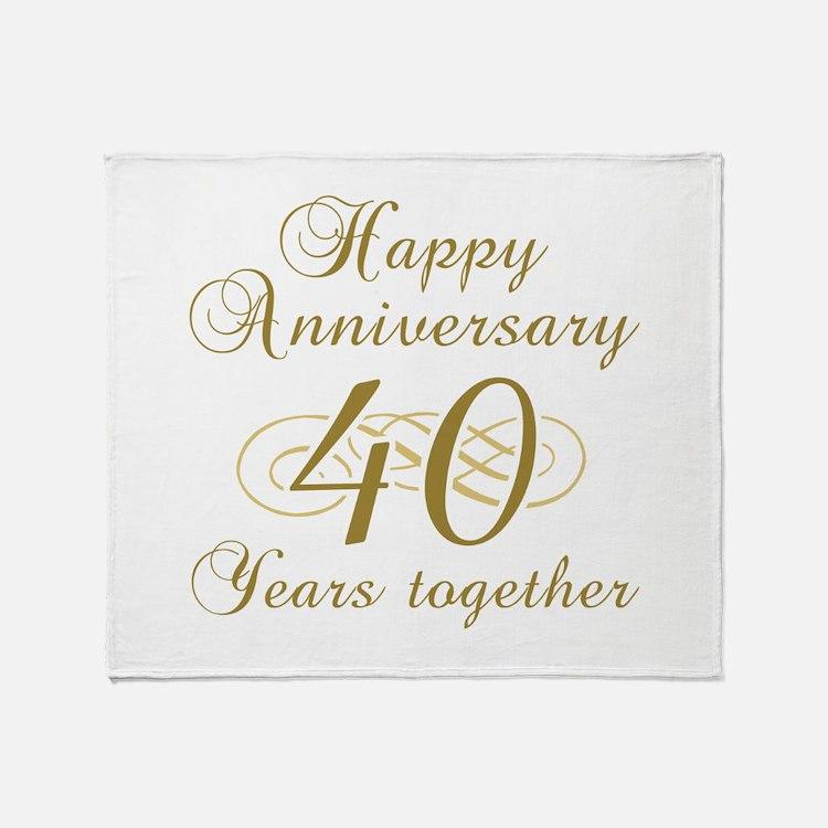 40th Anniversary (Gold Script) Throw Blanket