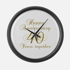 40th Anniversary (Gold Script) Large Wall Clock