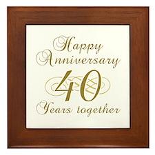 40th Anniversary (Gold Script) Framed Tile