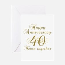40th Anniversary (Gold Script) Greeting Card