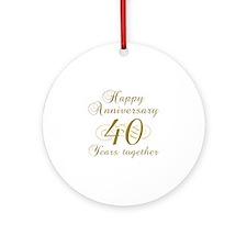 40th Anniversary (Gold Script) Ornament (Round)