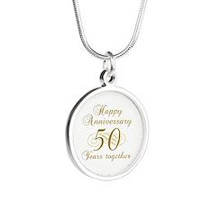 50th Anniversary (Gold Script) Silver Round Neckla