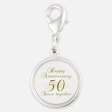 50th Anniversary (Gold Script) Silver Round Charm