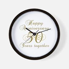 50th Anniversary (Gold Script) Wall Clock