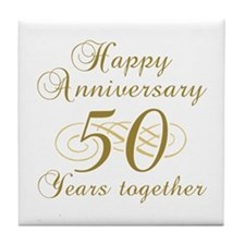 50th Anniversary (Gold Script) Tile Coaster