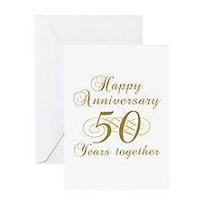 50th Anniversary (Gold Script) Greeting Card