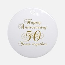 50th Anniversary (Gold Script) Ornament (Round)