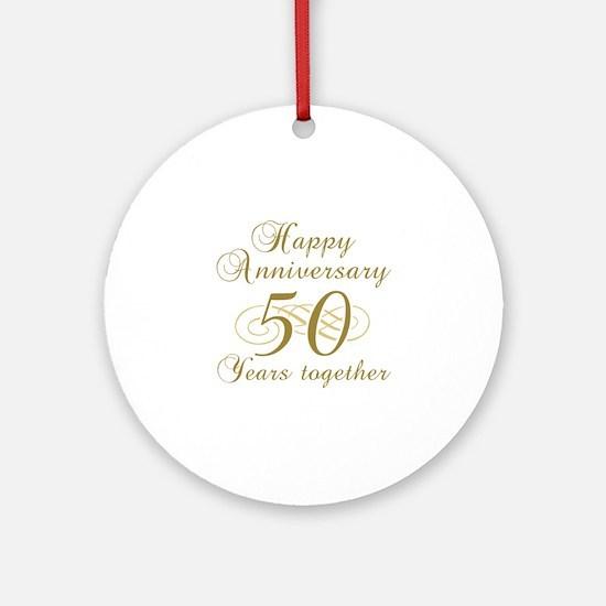 50th Anniversary (Gold Script) Ornament (Round)