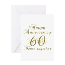 60th Anniversary (Gold Script) Greeting Card