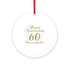 60th Anniversary (Gold Script) Ornament (Round)