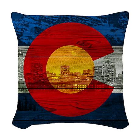 co flag Woven Throw Pillow