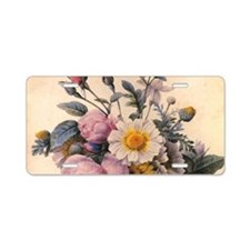 vintage botanical art, beau Aluminum License Plate