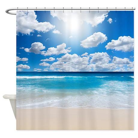 sunny beach shower curtain by creativeconceptz